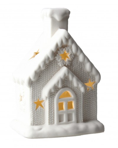 Domek porcelanowy, świąteczny z lampką LED