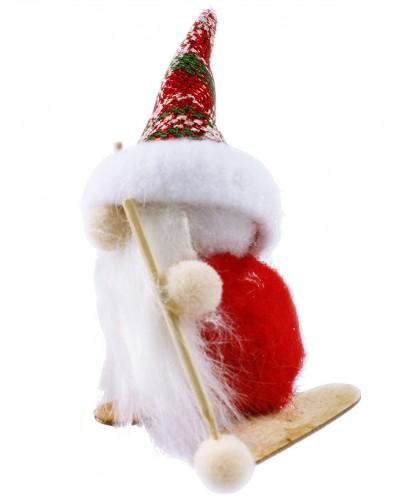 Figurka Santa Claus na nartach, czerwony
