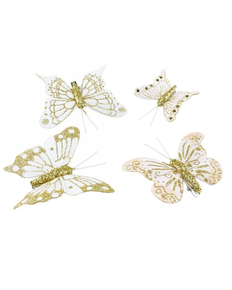 Motylki na klipsie, złote 10 szt.