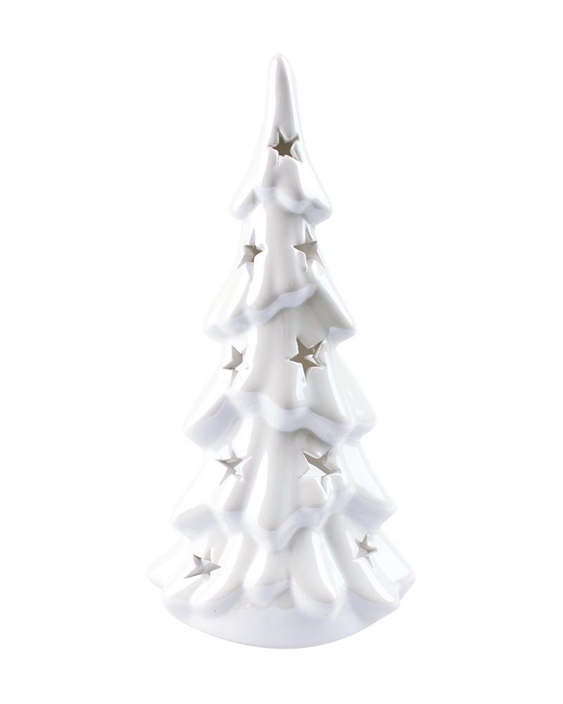 Ceramiczny świecznik, figurka choinka - biała