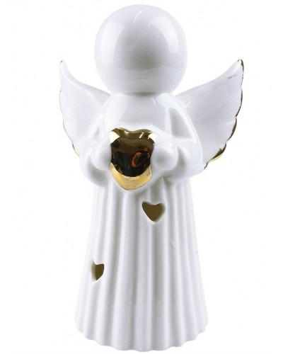 Porcelanowy anioł z lampką LED - serduszko