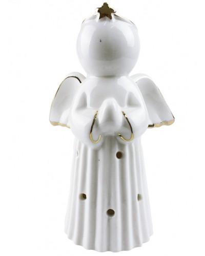 Porcelanowy anioł z lampką LED - pacierz