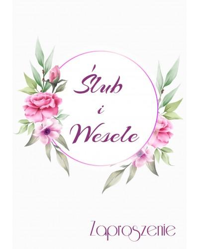 Zaproszenie na ślub - Lila Róż
