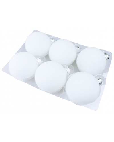 Bombki Szklane 8cm Białe Arctic White