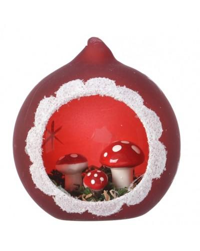 Bombka szklana z leśną scenerią w kolorze czerwonym