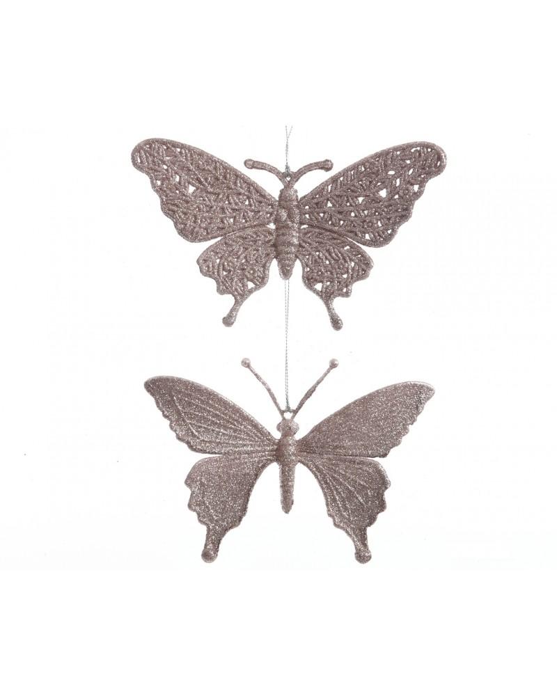 Motylki na choinkę, ażurowe zawieszki Blush Pink