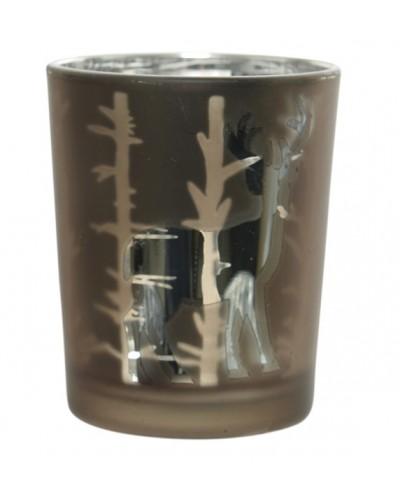 Szklany świecznik, miedziana kalka, renifer