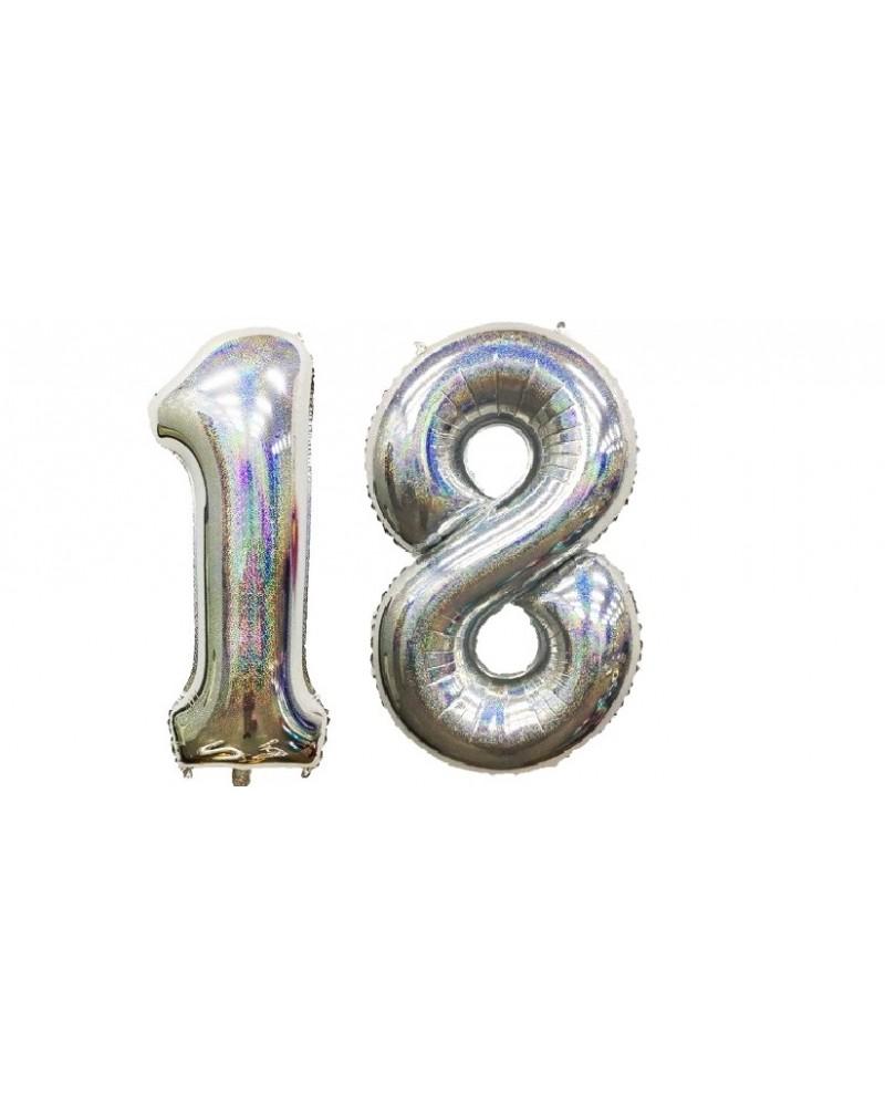 "Balony foliowe srebrne na ""18"" 100cm"