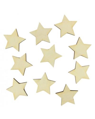 Drewniane gwiazdy naturalne 10 szt.