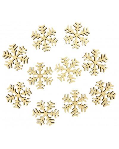 Drewniane śnieżynki naturalne 10 szt.