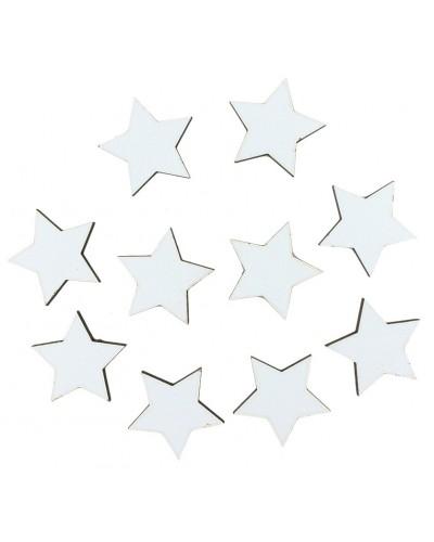 Drewniane gwiazdki w kolorze białym 10 szt.