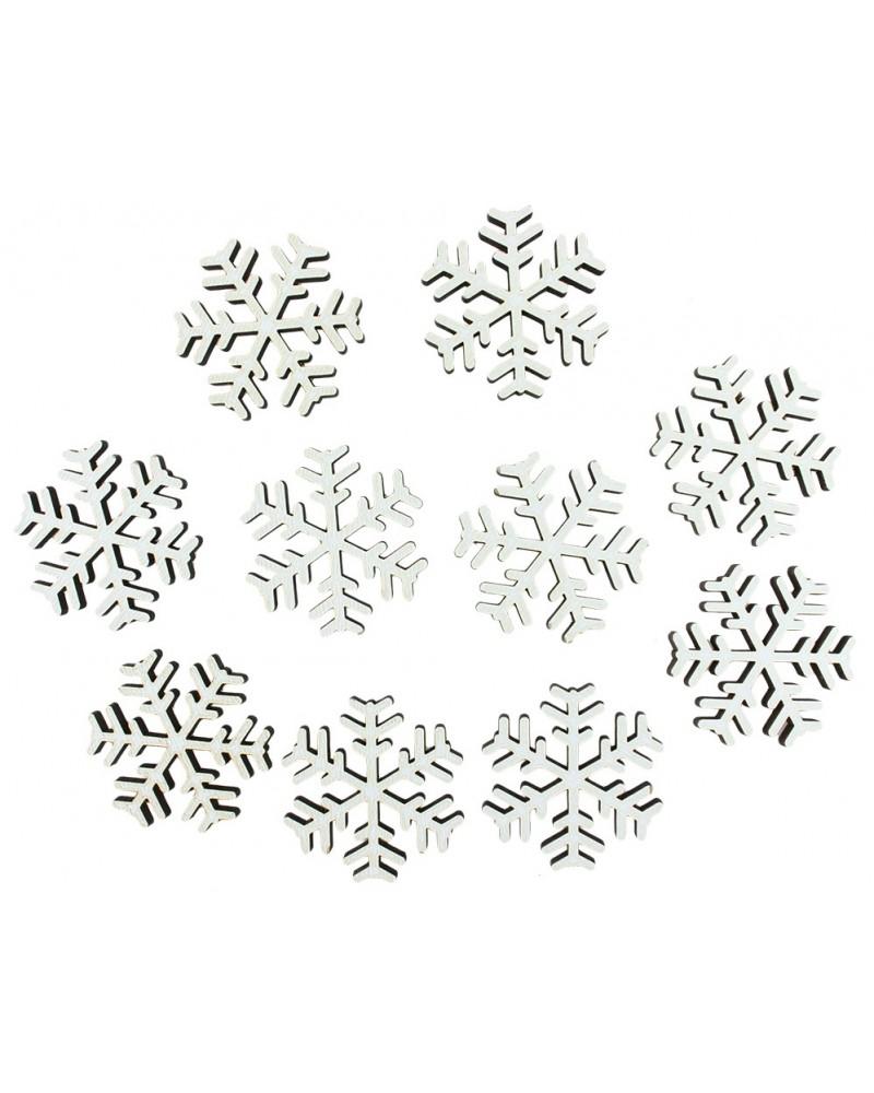Drewniane śnieżnyki w kolorze białym 10 szt.