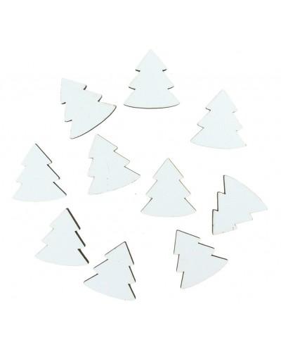 Drewniane choinki w kolorze białym 10 szt.