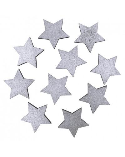 Drewniane gwiazdki w kolorze srebrnym 10 szt.