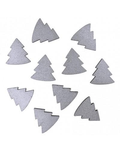 Drewniane choinki w kolorze srebrnym 10 szt.
