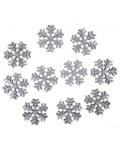 Drewniane śnieżynki w kolorze srebrnym 10 szt.