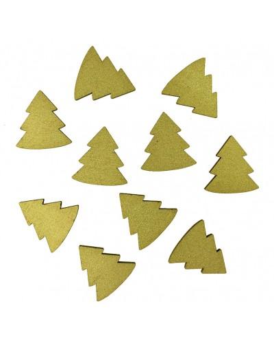 Drewniane choinki w kolorze złotym 10 szt.