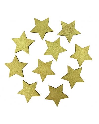 Drewniane gwiazdki w kolorze złotym 10 szt.