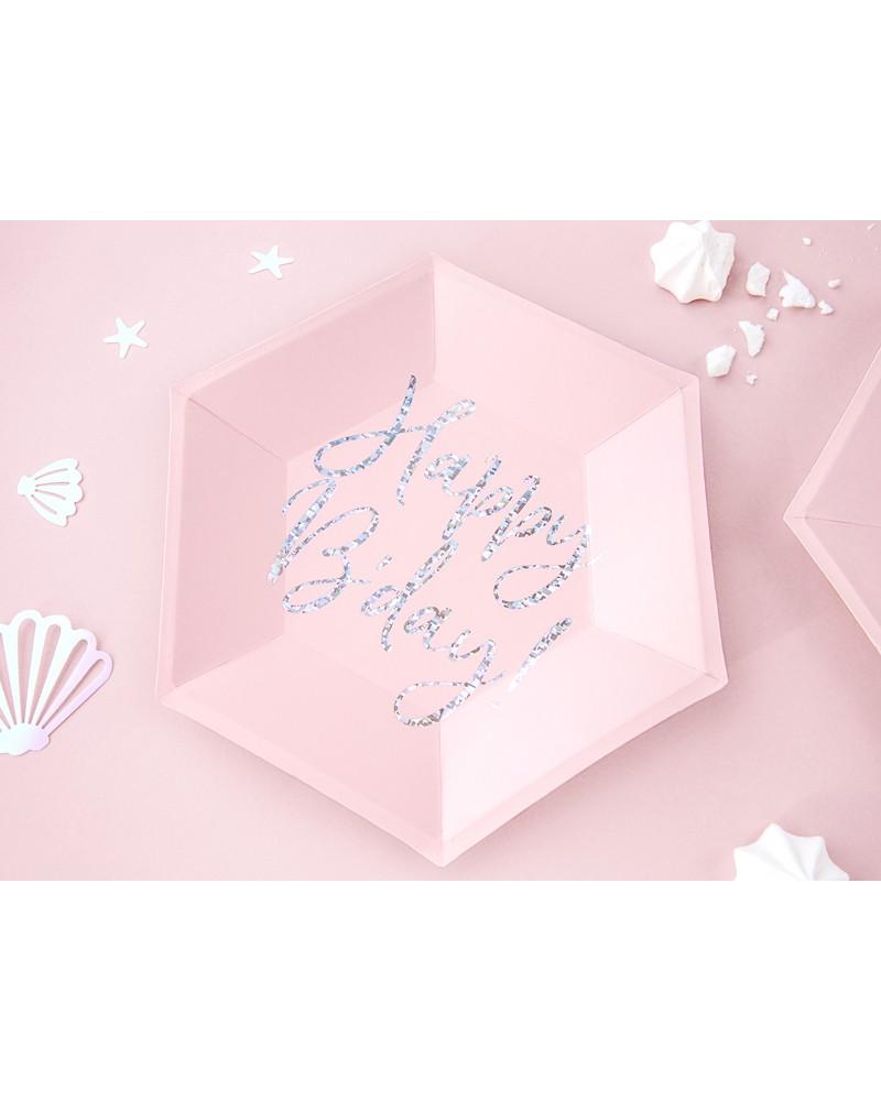 Talerzyki urodzinowe j.róż napis holo