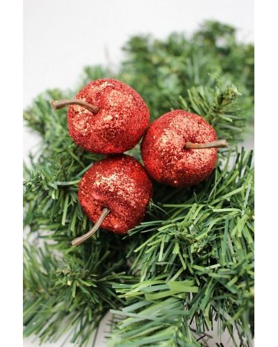 Sztuczne jabłka do stroików, brokatowe, czerwone