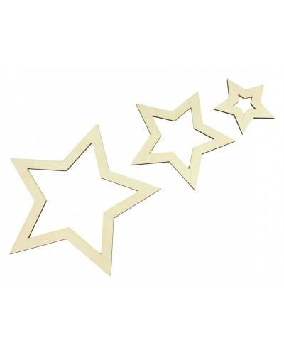 Drewniane gwiazdy zawieszki 7 szt.