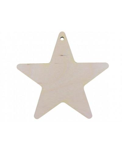 Drewniana zawieszka na choinkę gwiazda 10cm