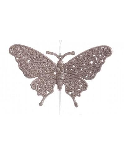 Motylek na choinkę, ażurowy zawieszka Blush Pink wz1