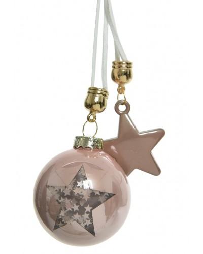 Bombka szklana z motywem i szklaną gwiazdą - Rose Gold