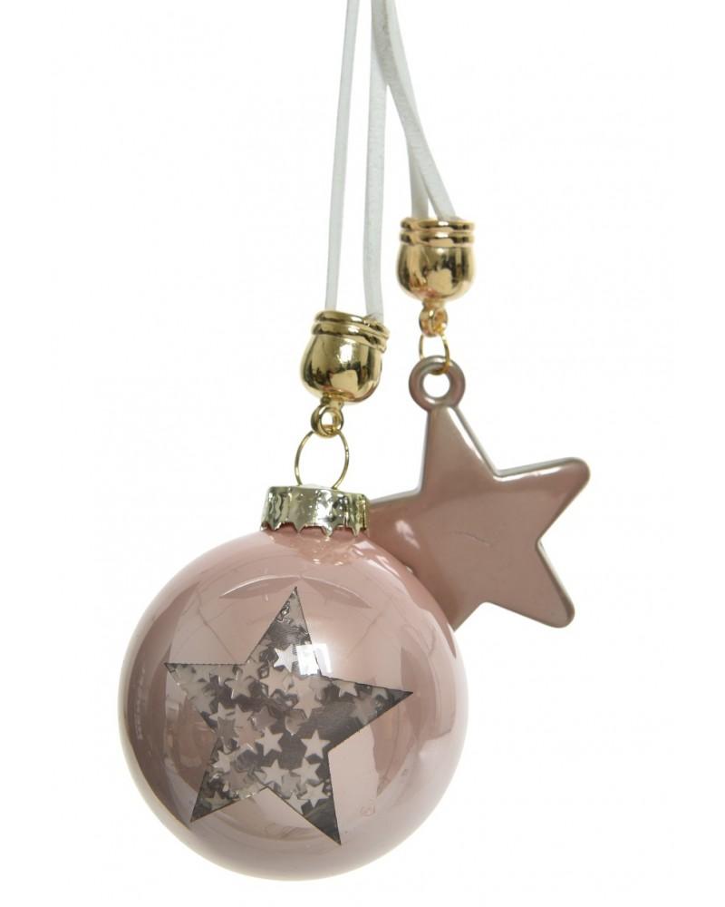 Bombka szklana z motywem i szklaną gwiazdą - Rose Gold - Happenings