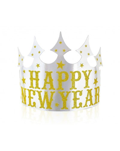 Tiara papierowa Happy New Year 4 sztuki