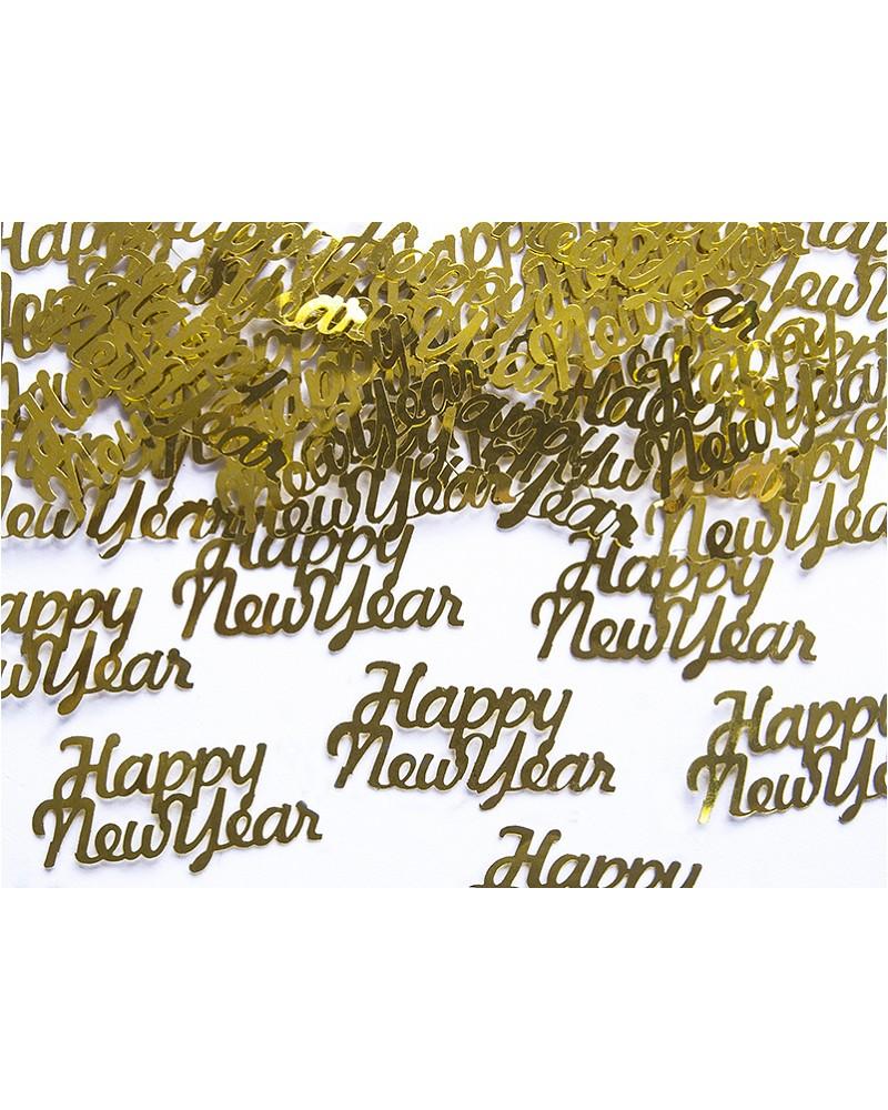 Konfetti Happy New Year, złote, 4x2cm