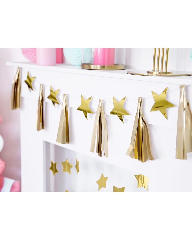 Girlanda papierowe gwiazdy, frędzle, złote, 2m