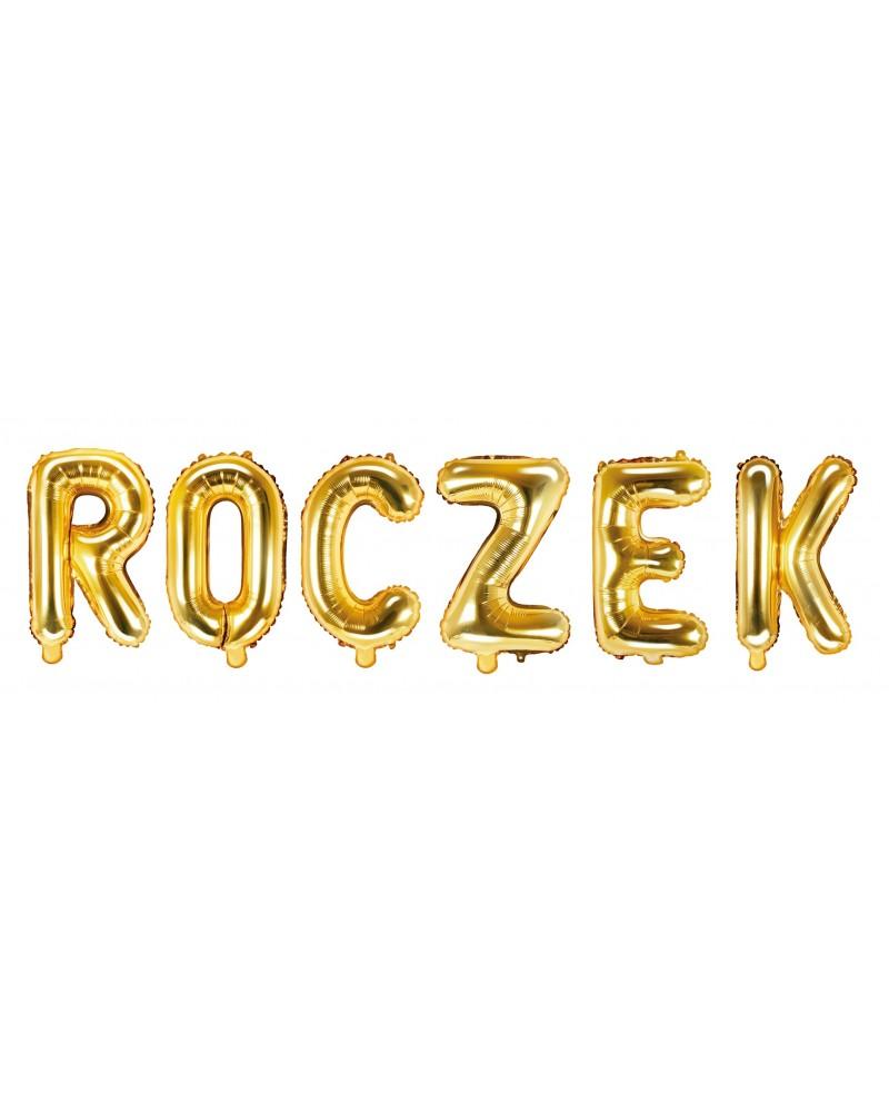 Napis ROCZEK z balonów Złoty