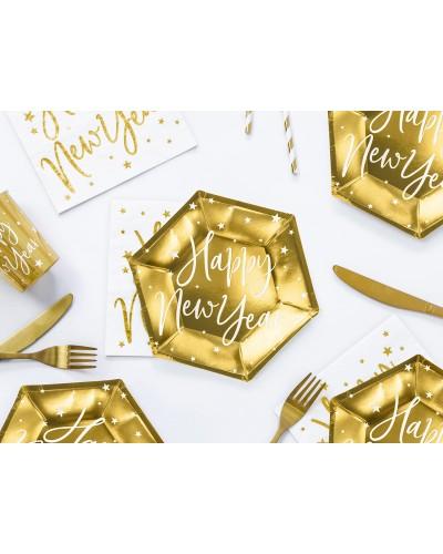Talerzyki papierowe Happy New Year 6 szt. Złote