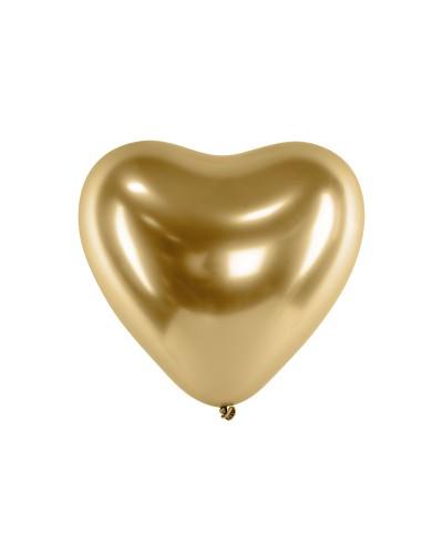 Balony chromowane serca 30cm Glossy Złote 10szt.