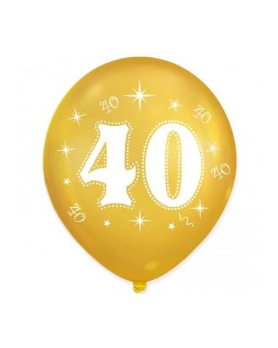Złote balony na 40 urodziny 10 sztuk