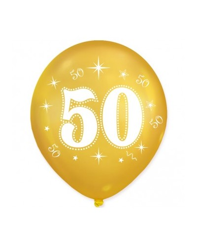 Złote balony na 50 urodziny 10 sztuk