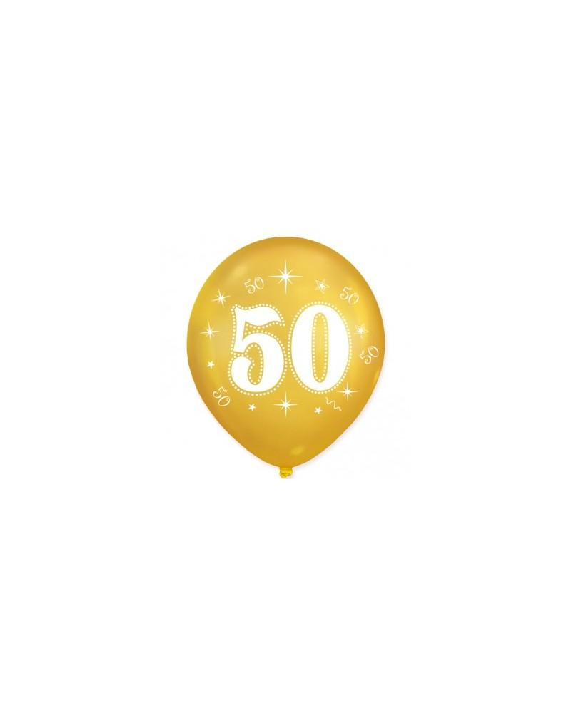 Złote balony na 50 urodziny