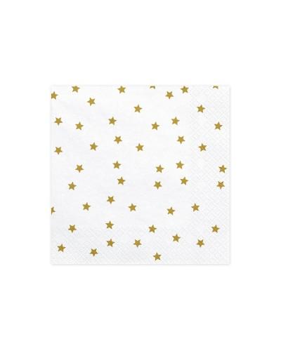 Serwetki białe w złote gwiazdki