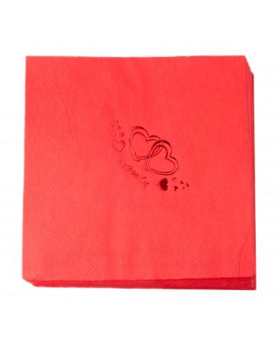 Serwetki Walentynkowe Tłoczone Czerwone Serce