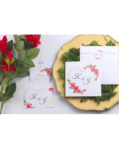 Zaproszenie Ślubne RSVP Geo Serce
