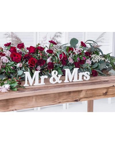 Drewniany napis na stół Mr&Mrs biały