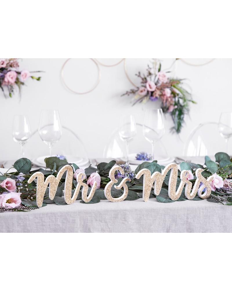 Drewniany napis na stół Mr&Mrs złoty