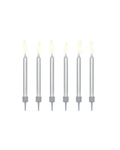 Świeczki urodzinowe krótkie srebrne