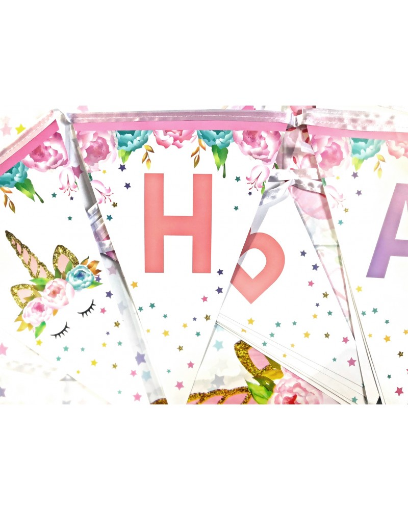 Banner proporczyk Kwiatowy Jednorożec
