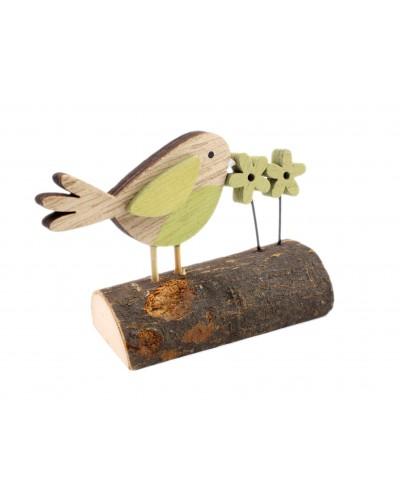 Drewniany Ptak na stojaku Wiosna