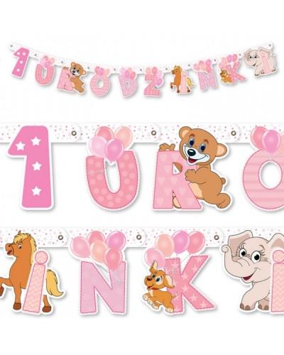 Baner na 1 urodzinki Różowy Zwierzaczki