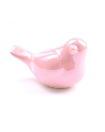 Ptaszek ceramiczny w kolorze różowym 6.5x3.5x4 cm