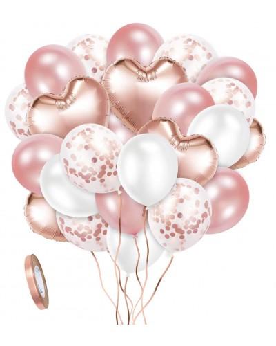 Zestaw Urodzinowy Rose Gold Serca Balony 30 szt.