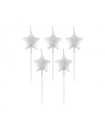 Świeczki pikery Gwiazdki srebrne